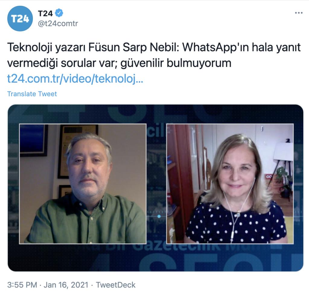 16 ocak 2021 - Murat Sabuncu ile Whatsapp Konusunun son durumu - T24 - https://t24.com.tr/video/teknoloji-yazari-fusun-sarp-nebil-whats-app-in-hala-yanit-vermedigi-sorular-var-guvenilir-bulmuyorum,35503